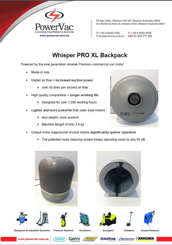 PowerVac Whsiper Pro motor info - Thumbnail