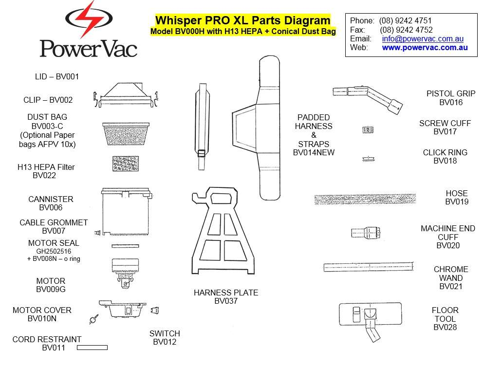 PowerVac Whsiper Pro parts diagram - Thumbnail