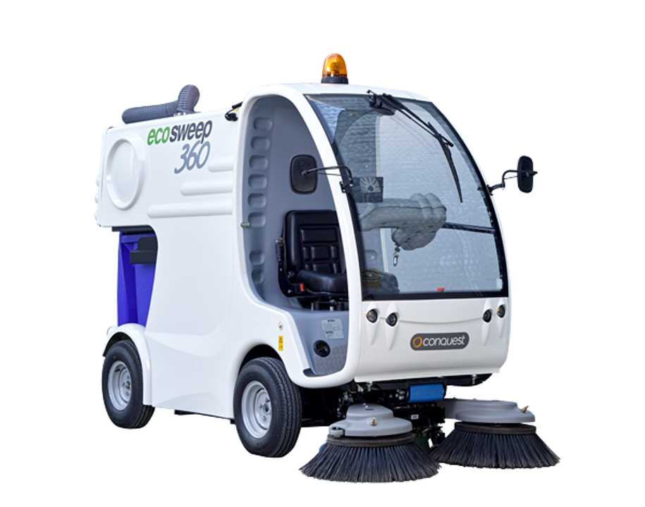Zero Pollution Motors >> Conquest Eco Sweep 360 Battery Powered Street Sweeper | PowerVac Cleaning Equipment & Service